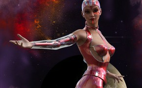 Картинка девушка, космос, киборг