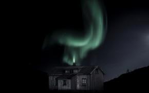 Картинка ночь, дом, сияние, Green fire
