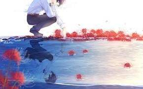 Картинка цветы, природа, аниме, арт, парень, lluluchwan