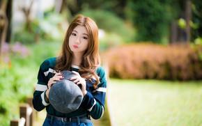 Картинка взгляд, девушка, волосы, кепка, азиатка, милашка, боке