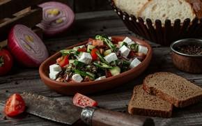 Картинка сыр, лук, тарелка, хлеб, перец, овощи, помидоры, огурцы, салат, халапеньо
