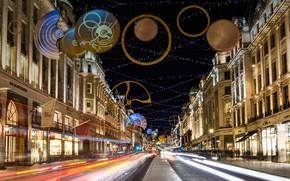 Картинка Лондон, Рождественские огни, Вест-Энд, Риджент-стрит