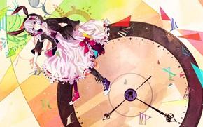 Картинка стрелки, кеды, круг, циферблат, бантики, vocaloid, вокалоид, числа, оборки, Yuzuki Yukari, сиреневые волосы, кроличьи ушки, …