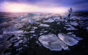 Картинка девушка, берег, лёд