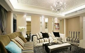 Картинка цветы, диван, интерьер, подушки, люстра, столик, гостиная