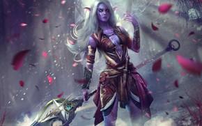 Картинка девушка, копье, warcraft, охотник, wow, art, world of warcraft, night elf, Lexith