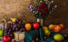 Картинка цветы, яблоки, букет, виноград, тыква, фрукты, натюрморт, овощи, груши, flowers, fruit, grapes, still life, vegetable
