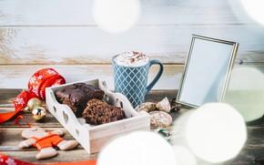 Картинка праздник, игрушки, кофе, лента, Новый год, Christmas, wood, Coffee, декор, кексы, Chocolate, Cake, Ribbon