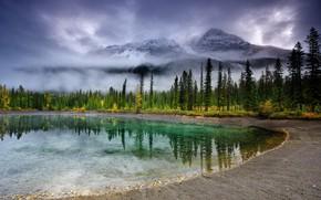 Картинка облака, деревья, горы, туман, озеро