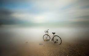 Картинка море, велосипед, размытость