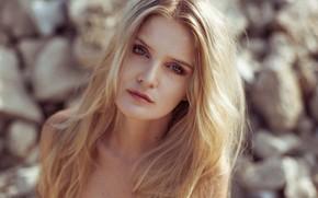 Картинка взгляд, солнце, портрет, макияж, прическа, блондинка, красотка, боке, Anne Hoffmann, kassio. epia