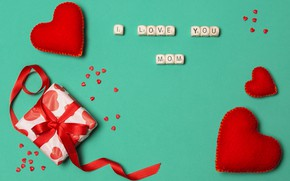 Картинка подарок, лента, сердечки, мама, люблю, Mom