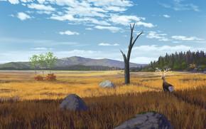 Картинка пейзаж, природа, олень