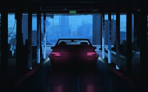 Картинка Авто, Машина, Арт, Illustration, Паркинг, Science Fiction, Environments, Transport & Vehicles, by Rashed AlAkroka, Car …
