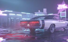 Картинка Ночь, Машина, Стиль, 1969, Car, Render, Neon, Dodge Charger, Рендеринг, Лужи, Мотель, Motel, Retrowave, Synthwave, …