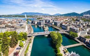Картинка озеро, дома, Швейцария, фонтан, мосты, Женева