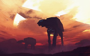 Картинка Star Wars, Art, Star Destroyer, AT-AT, Fanart, StarWars, AT-AT Walker, Mack Sztaba, by Mack Sztaba