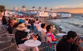 Картинка море, Греция, кафе, ветряная мельница, Миконос