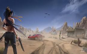 Картинка Девушка, Авто, Рисунок, Пустыня, Машина, День, Оружие, Zombie, Concept Art, Дробовик, Environments, Zack Draw, Zombie …