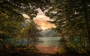 Обои горы, озеро, Швейцария, Альпы, Klöntalersee