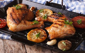 Картинка курица, мясо, овощи, гриль