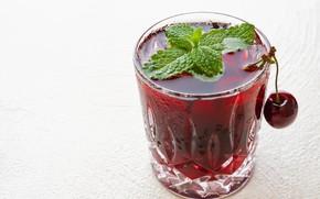 Картинка вишня, стакан, напиток