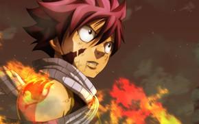 Картинка взгляд, огонь, пламя, парень, в огне, Fairy Tail, Natsu Dragneel, Нацу Драгнил
