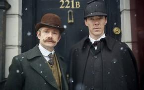 Картинка снег, шапка, шляпа, двое, друзья, Шерлок Холмс, Мартин Фримен, Бенедикт Камбербэтч, Benedict Cumberbatch, Sherlock, Sherlock …