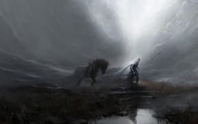 Картинка by Artem Demura, Spear, Свет, Sword, Artem Demura, Стиль, Ray, Меч, Warrior, Style, Лошадь, Character, …