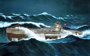 Картинка волны, Шторм, WWII, German submarine, U-552, U-boot type VIIC, Erich Topp
