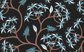 Картинка фон, черный, Flower, Blue, Black, Vintage, Background, Leaves, Pattern