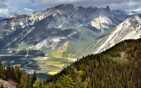 Картинка Природа, Облака, Горы, Лес, Пейзаж, Долина, Склон