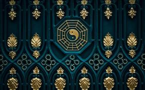 Картинка фон, узоры, текстура, ворота, восток, дзен, инь-ян, буддизм