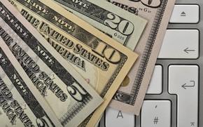 Картинка деньги, доллар, клавиатура, купюры, dollar, keyboard
