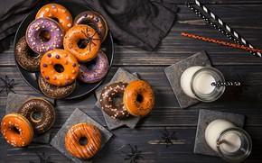 Картинка молоко, пончики, выпечка, сладкое, sweet, donuts