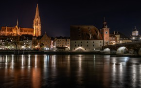 Картинка мост, огни, река, вечер, Германия, Regensburg