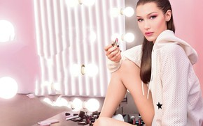 Картинка поза, взгляд, помада, девушка, лампочки, косметика, Bella Hadid, модель