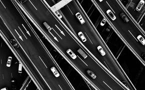 Картинка машины, движение, вид сверху, транспортная развязка