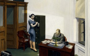 Картинка 1940, Edward Hopper, Office at night