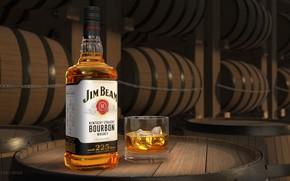 Картинка лед, стакан, бутылка, бочки, хранилище, бурбон и виски, Jim Beam Bourbon Sample, Jim Beam® bourbons …