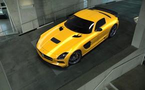 Картинка Mercedes-Benz, Желтый, Машина, Mercedes, SLS AMG, AMG, Рендеринг, Black Series, Mercedes-Benz SLS AMG, by Mikhail …