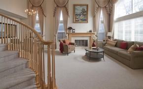 Картинка комната, интерьер, лестница, гостиная, камин
