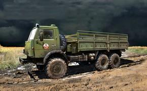 Картинка СССР, Советская Армия, КамАЗ-4310, Камский автомобильный завод, армейский грузовик