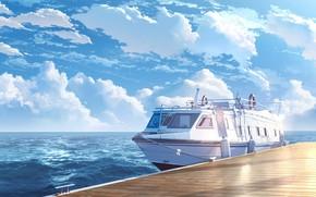 Картинка море, пристань, яхта