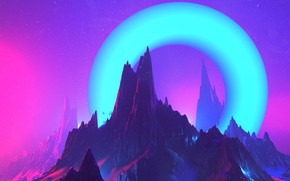 Картинка Горы, Музыка, Скалы, Гора, Скала, Стиль, Fantasy, Rock, Арт, Графика, Art, Mountain, Style, Фантастика, Neon, …