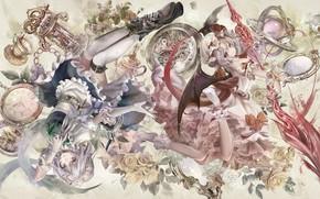 Картинка девушки, розы, арт, touhou, тоухоу