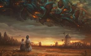 Картинка Поле, Дракон, Мельница, Огонь, Люди, Стиль, Тучи, Пшеница, Clouds, Dragon, Fire, Драконы, Style, Фантастика, Fiction, …