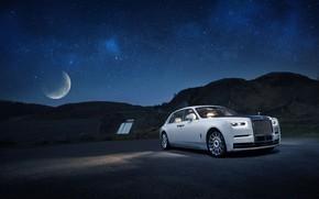 Картинка машина, небо, вода, луна, звёзды, Rolls-Royce, Phantom, Tranquillity