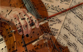 Картинка ноты, рука, виолончель, смычок