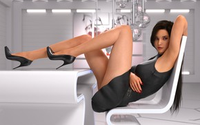 Картинка девушка, комната, ноги, сидит